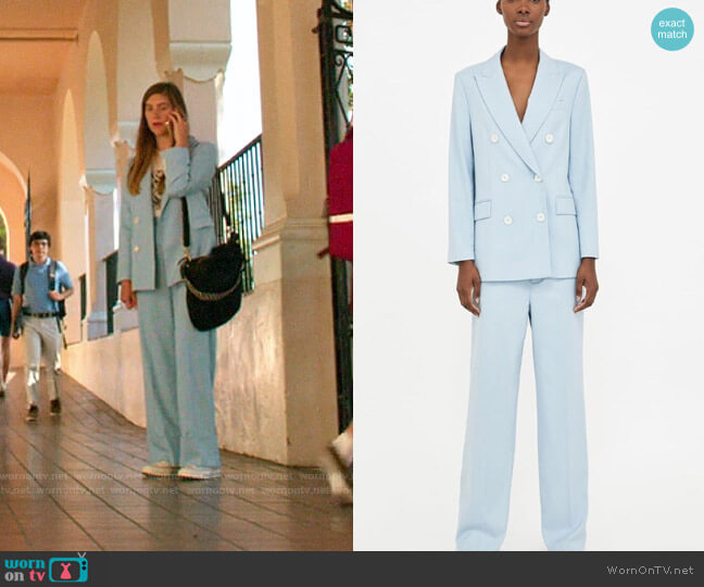 Zara Sky Blue Suit worn by McAfee (Laura Dreyfuss) on The Politician