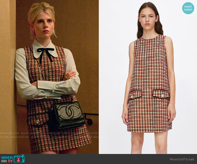 Zara Tweed Dress with Metallic Thread worn by Astrid (Lucy Boynton) on The Politician