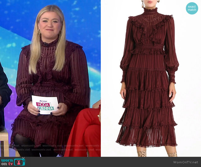 Espionage Lace Panel Dress by Zimmermann worn by Kelly Clarkson on Today