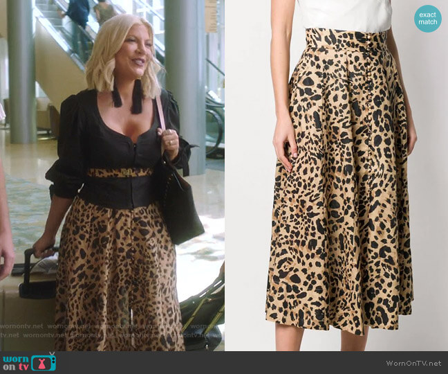 Leopard Print Skirt by Zimmermann  worn by Tori Spelling  on BH90210