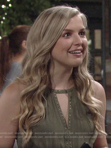 Zoe's green studded keyhole top on The Young and the Restless