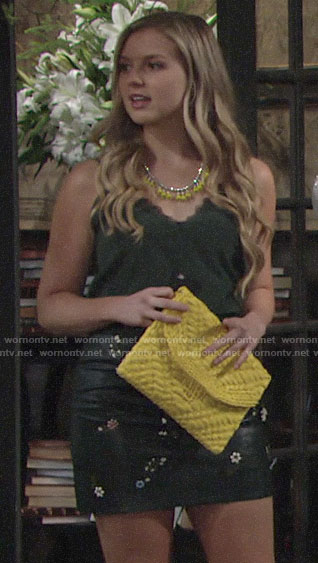 Zoe's green lace-trim cami and embroidered leather skirt on The Young and the Restless