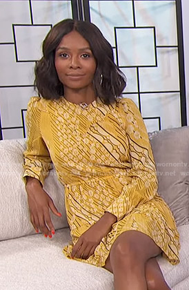 Zuri's yellow floral mini dress on E! News