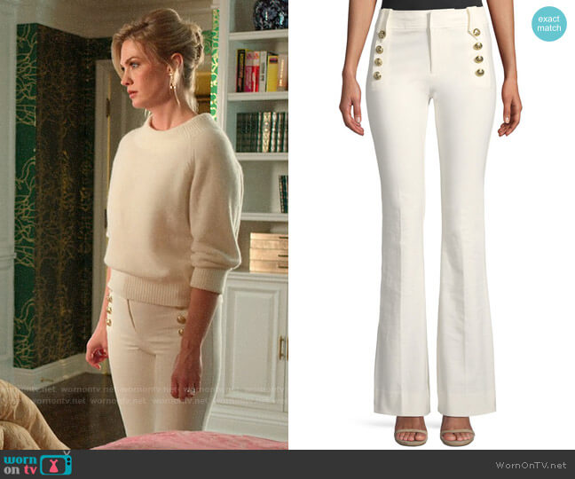 10 Crosby Derek Lam Robertson Flare Pants worn by Lizbeth Sloan (January Jones) on The Politician