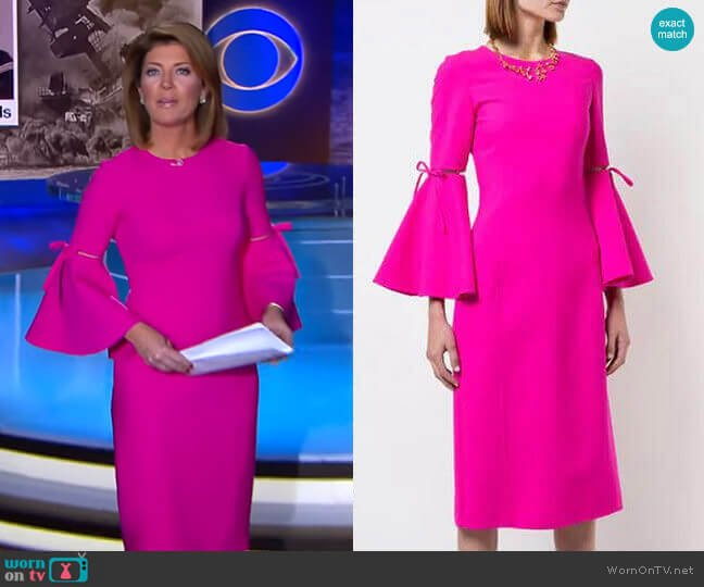 3/4 Flutter Sleeved Pencil Dress by Oscar de la Renta worn by Norah O'Donnell  on CBS Evening News