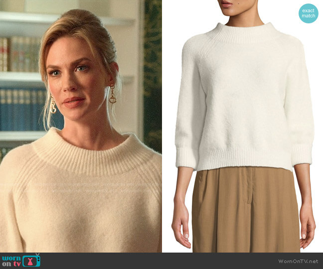 3.1 Phillip Lim 3/4-Sleeve Lofty Rib Alpaca-Blend Pullover Sweater worn by Lizbeth Sloan (January Jones) on The Politician