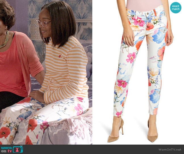 7 For All Mankind The Ankle Skinny Jeans in Seaside Poppies worn by Diane Johnson (Marsai Martin) on Blackish