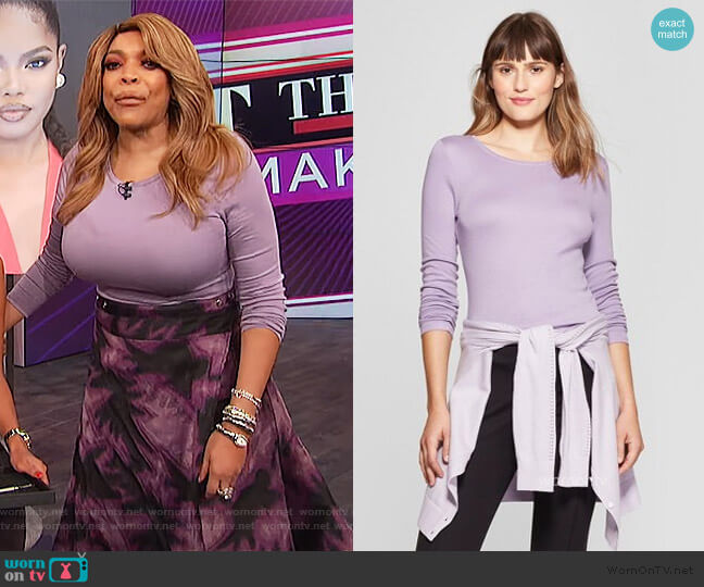 Long Sleeve Crewneck T-Shirt by A New Day at Target worn by Wendy Williams  on The Wendy Williams Show