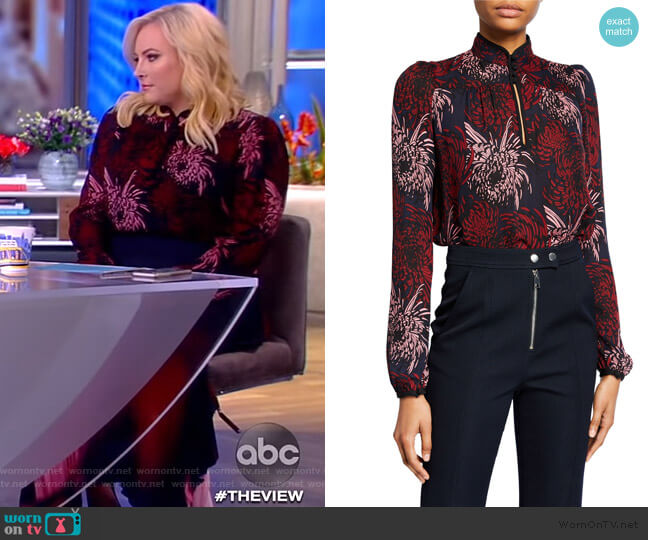 Beatrix Floral Silk Blouse by A.L.C. worn by Meghan McCain  on The View