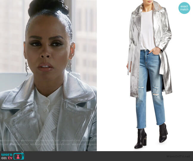 Bennet Metallic Leather Trench Coat by A.L.C. worn by Tegan Price (Amirah Vann) on HTGAWM