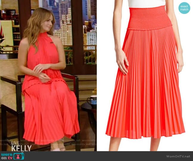 Hedrin Pleated Skirt by A.L.C. worn by Debby Ryan on Live with Kelly and Ryan