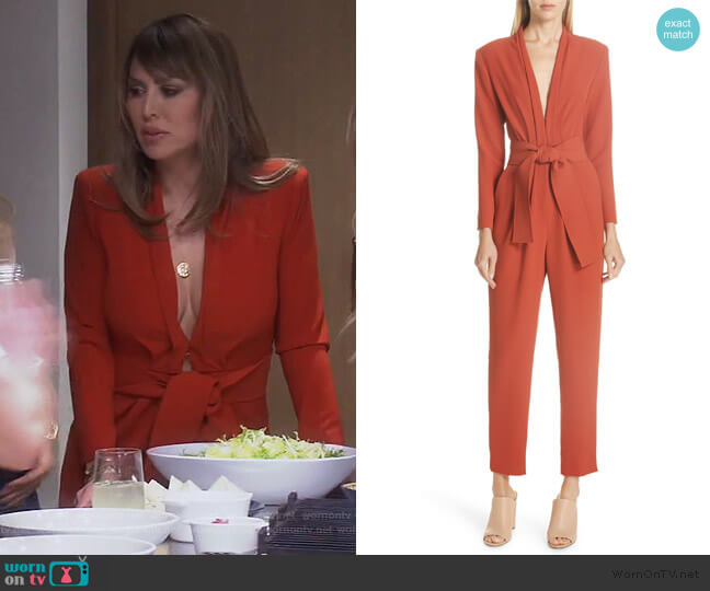 Kieran Belted Jumpsuit by ALC worn by Kelly Dodd  on The Real Housewives of Orange County
