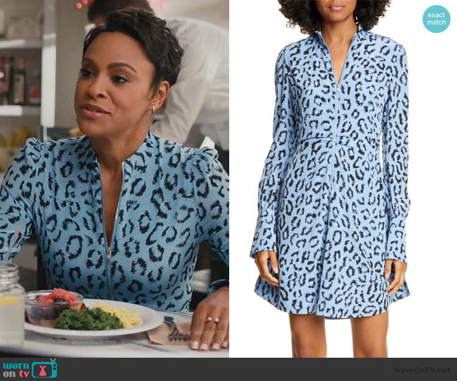 Marcella Zip-Front Leopard Short Dress by A.L.C. worn by Angela (Carly Hughes ) on American Housewife