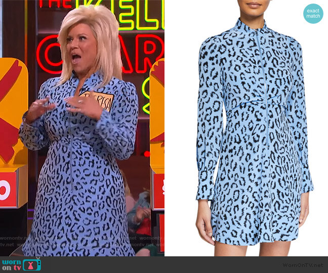 Marcella Zip-Front Leopard Short Dress by A.L.C. worn by Theresa Caputo on The Kelly Clarkson Show