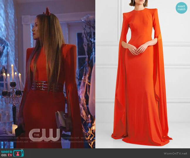 Abigail Open-Back Crepe Gown by Alex Perry worn by Dominique Deveraux (Michael Michele) on Dynasty