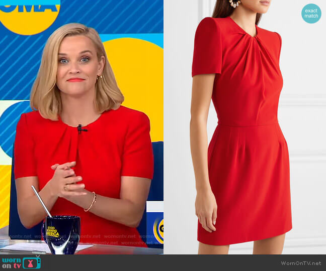 Ruched Crepe Mini Dress by Alexander McQueen worn by Reese Witherspoon on GMA