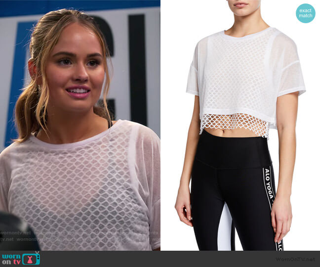 Afterglow Short-Sleeve Layered Crop Tee by Alo Yoga worn by Patty Bladell (Debby Ryan) on Insatiable