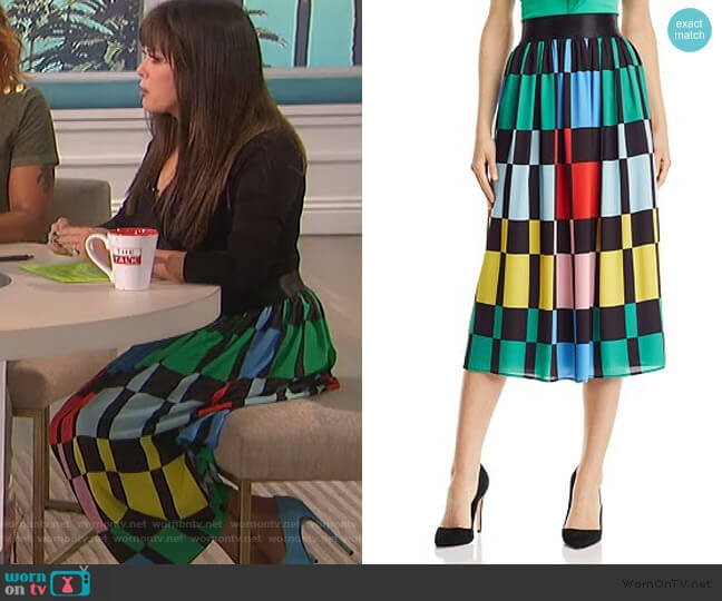 Melda Geometric Print Midi Skirt by Alice + Olivia worn by Marie Osmond  on The Talk