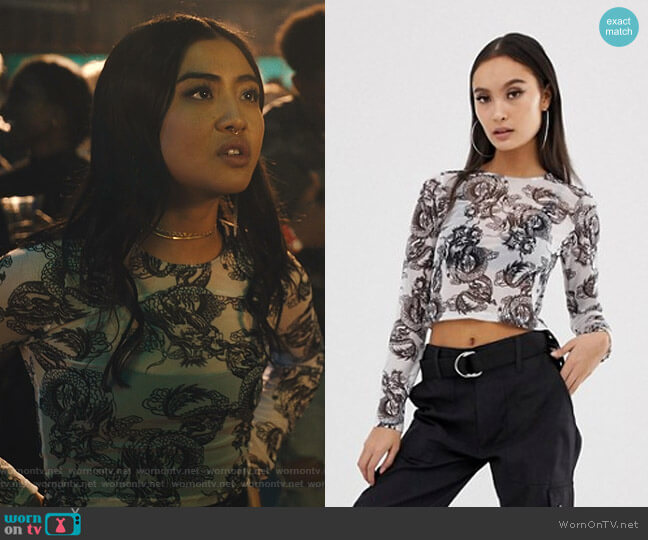 Long Sleeve Mesh Top in Dragon Print by Asos worn by Alex Portnoy (Brianne Tju) on Light as a Feather