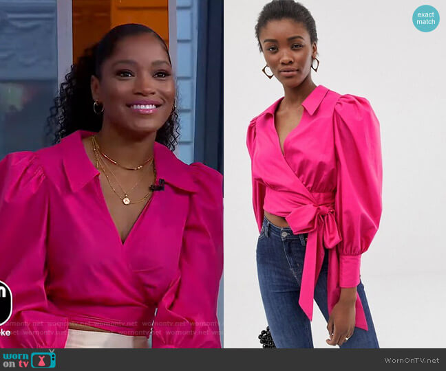 Wrap Top with Volume Sleeves by Asos worn by Keke Palmer  on Good Morning America