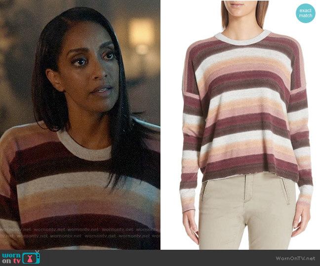 ATM Anthony Thomas Melillo Stripe Cotton & Cashmere Sweater worn by Kelly Olsen (Azie Tesfai) on Supergirl