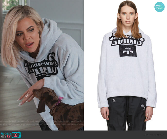 White Towel Hoodie by Adidas Originals by Alexander Wang worn by Khloe Kardashian  on Keeping Up with the Kardashians