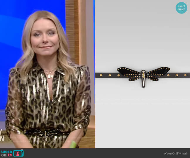 Adjustable Leather Dragonfly Belt by Gucci worn by Kelly Ripa  on Live with Kelly & Ryan