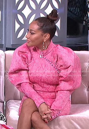 Adrienne's pink puff sleeve mini dress on The Real