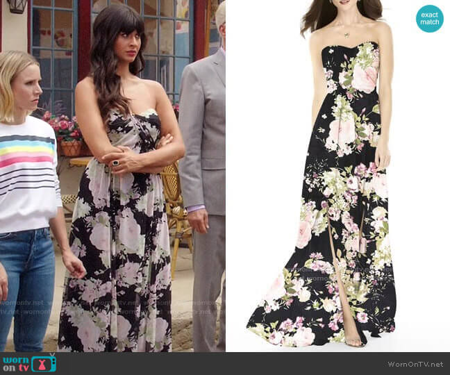After Six Strapless Front Slit Gown worn by Tahani Al-Jamil (Jameela Jamil) on The Good Place