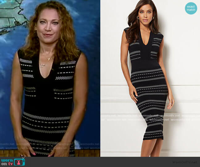 Aimee Sweater Dress - Eva Mendes Collection by New York & Company worn by Ginger Zee  on Good Morning America