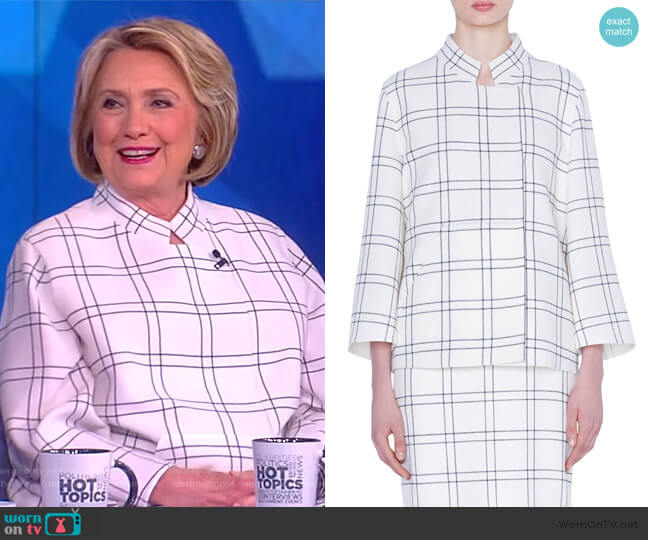 Clemence Wool Crepe Jacket by Akris worn by Hillary Clinton on The View