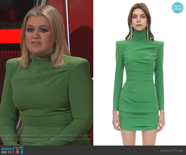 Techno Crepe Mini Dress by Alex Perry  worn by Kelly Clarkson  on The Voice