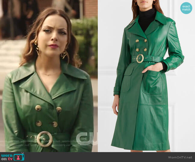 Belted Leather Trench Coat by Alexa Chung worn by Fallon Carrington (Elizabeth Gillies) on Dynasty