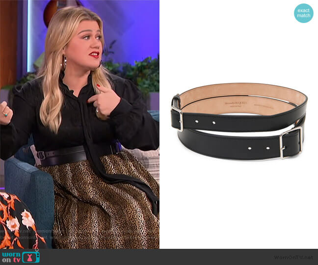 Double Buckle Leather Belt by Alexander McQueen worn by Kelly Clarkson  on The Kelly Clarkson Show