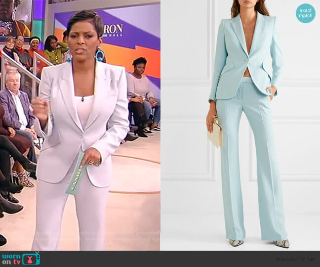 Crepe blazer and pants by Alexander McQueen worn by Tamron Hall  on Tamron Hall Show