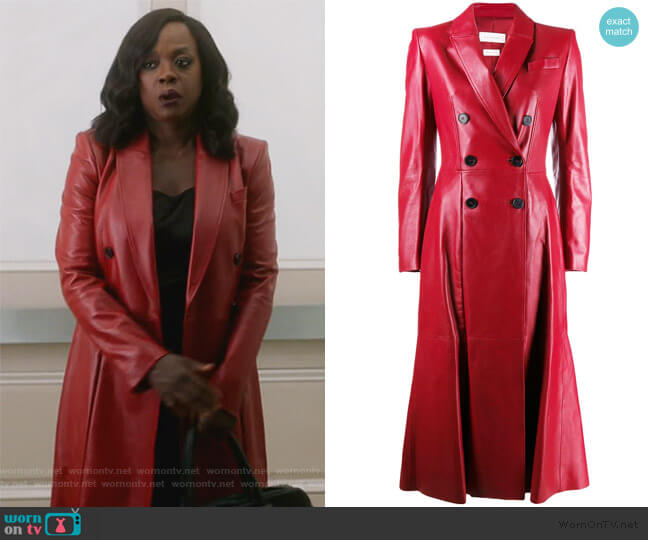 Double-breasted pleated leather Coat by Alexander McQueen worn by Annalise Keating (Viola Davis) on HTGAWM