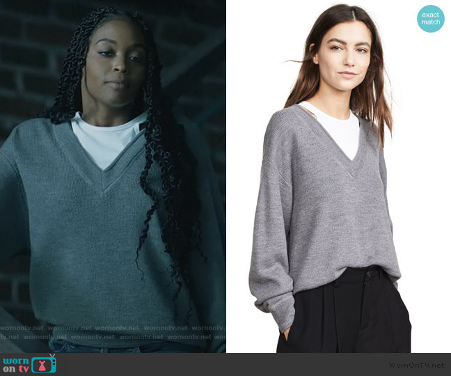 Bi-Layer V Neck Sweater by T by Alexander Wang worn by Anissa Pierce (Nafessa Williams) on Black Lightning