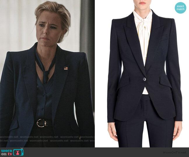 Peak Shoulder Blazer by Alexander McQueen worn by Elizabeth McCord (Téa Leoni) on Madam Secretary