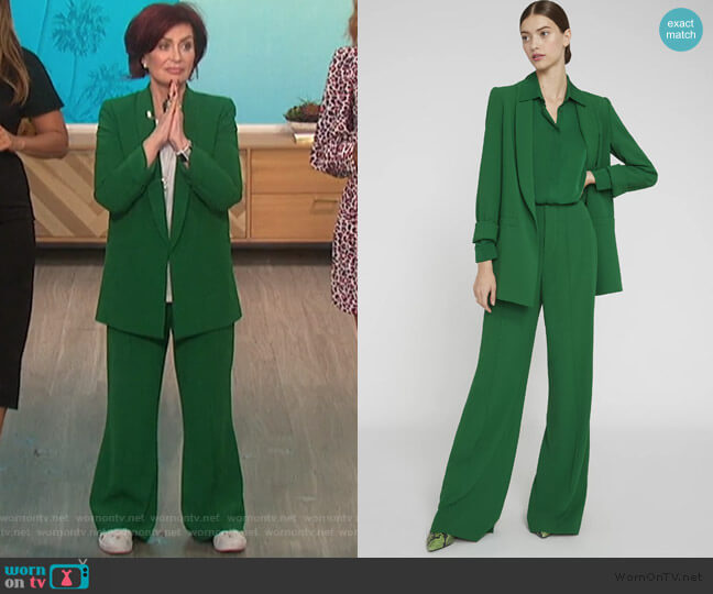 Kylie Blazer and Dylan Pants by Alice + Olivia worn by Sharon Osbourne  on The Talk