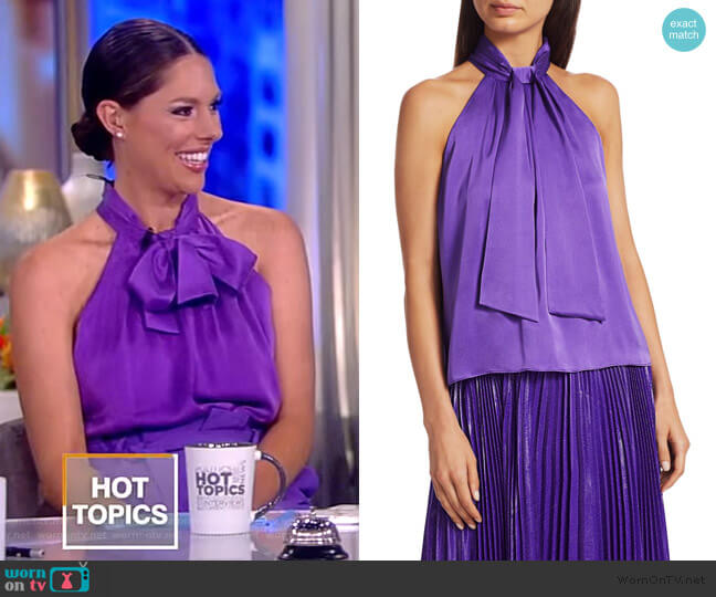 Leia Tie Neck Halter Top by Alice + Olivia worn by Abby Huntsman  on The View