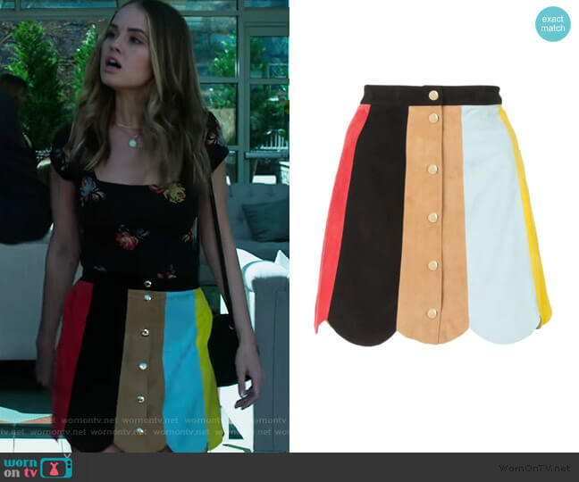 Rudie Suede Mini Skirt by Alice + Olivia worn by Patty Bladell (Debby Ryan) on Insatiable