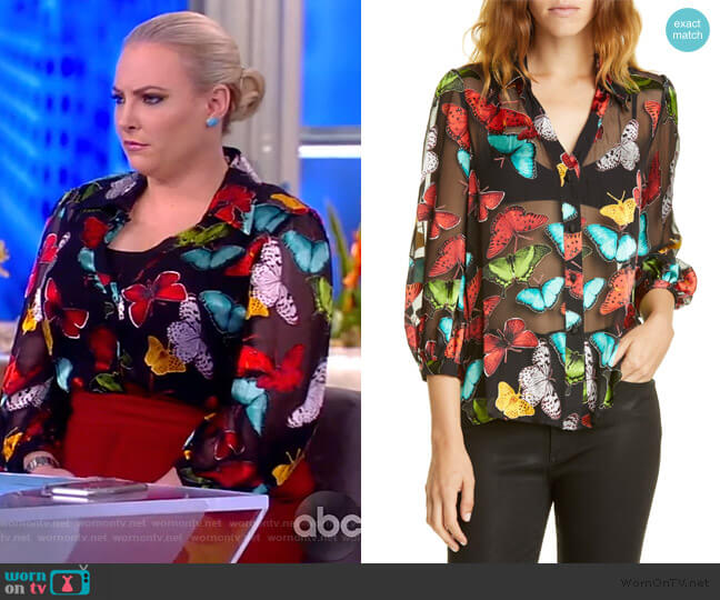 Sheila Butterfly Print Silk Blend Top by Alice  Olivia worn by Meghan McCain  on The View