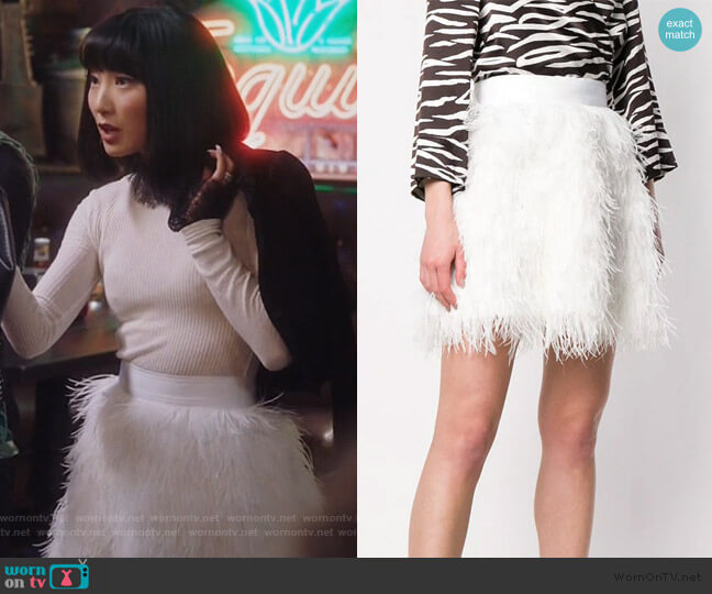 Feather Skirt by Alice + Olivia worn by Mei Lin (Poppy Liu) on Sunnyside
