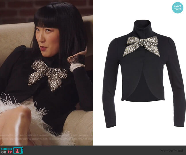 Addison Embellished Bow Jacket by Alice + Olivia worn by Mei Lin (Poppy Liu) on Sunnyside