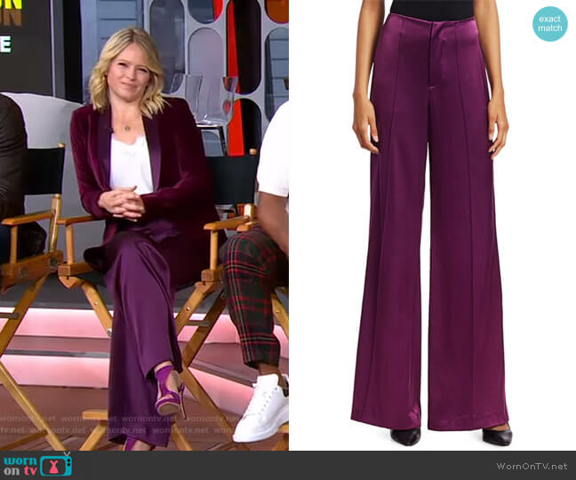Dylan High-Rise Wide-Leg Pants by Alice + Olivia worn by Sara Haines  on Good Morning America