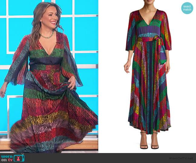 Meryl Pleated Maxi Dress by Alice + Olivia worn by Alyssa Milano on The Talk
