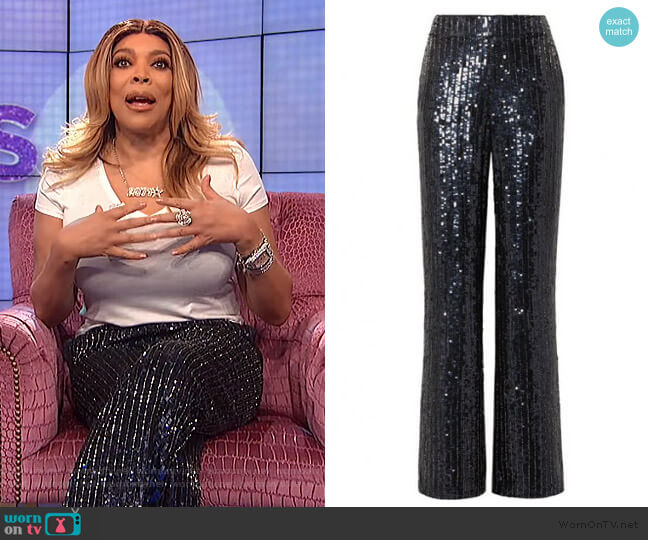 Midnight Blue Sequined Satin Wide Leg Pants by Alice + Olivia worn by Wendy Williams  on The Wendy Williams Show