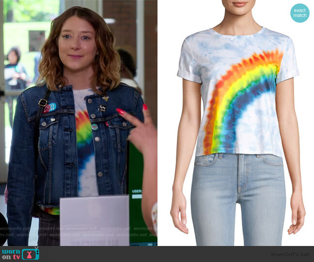 Shira Roll Sleeve Rainbow Tee by Alice + Olivia worn by Nonnie Thompson (Kimmy Shields) on Insatiable