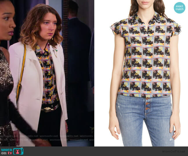 Willa Flutter Sleeve Silk Top by Alice + Olivia worn by Nonnie Thompson (Kimmy Shields) on Insatiable