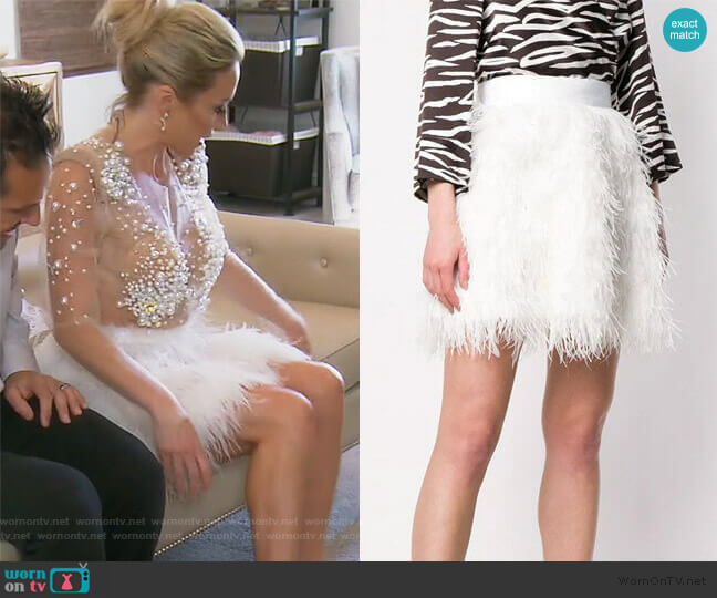 Feather Skirt by Alice + Olivia worn by Braunwyn Windham-Burke  on The Real Housewives of Orange County